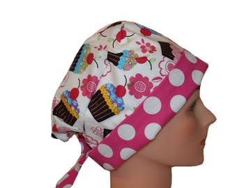 Scrub Hat Surgical Scrub Cap Chemo Hat Tie Back  Flirty Front Fold Pixie Style  Pink Blue Green Yellow Cupcakes Dots 2nd Item Ships FREE
