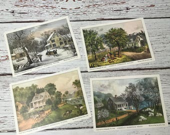 Currier And Ives Lithographs, American Homestead, Lithographs, Four Seasons, Vintage Cards, Vintage Art, Gifts For The Home, Americana