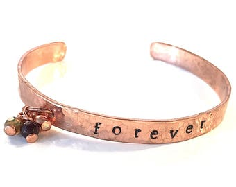 Hammered Copper Forever Cuff