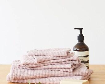 Powder Linen Waffle Towel