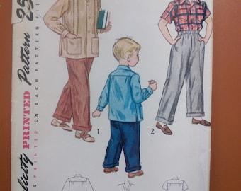 Simplicity 2969 Boy's Casual Yoked Shirt Slacks Pants Trousers ShortsVintage Sewing Pattern 1940s 40s Size 14