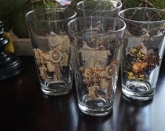 Vintage, Set of Four Cowboy Tea Glasses