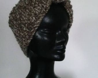 Wide headband ctaupe, pure wool alpaca and angora for winter!
