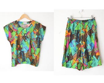 80s colorful abstract print shirt and high waist short / set of 2 / S-M