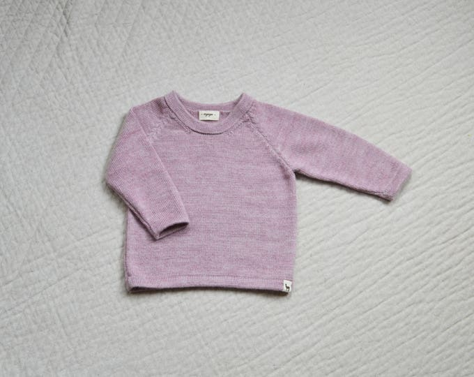 Kids knit jumper in baby alpaca wool camel pink gray brown ivory sweater pullover toddler baby girl boy kids knit jumper