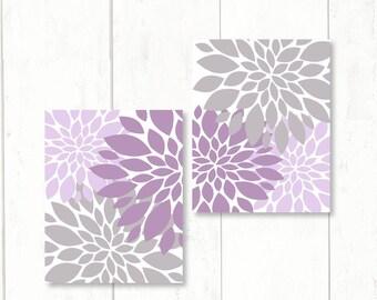 LAVENDER GRAY Nursery Wall Art CANVAS or Print Girls Purple Art Dahlia Flower Burst Abstract Art Set Baby Shower Gift Poster Decor