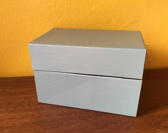 Tin Recipe Box Green-Grey