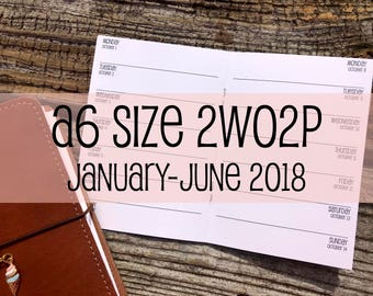 Traveler's Notebook A6 Size Week on One Page NO Grid Inserts 2WO2P {January-June 2018} #500-26