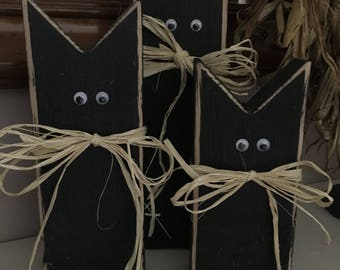 Rustic Wooden Black Cats//Wooden Black Cats//Rustic Halloween Decor//Wooden Halloween Decor//