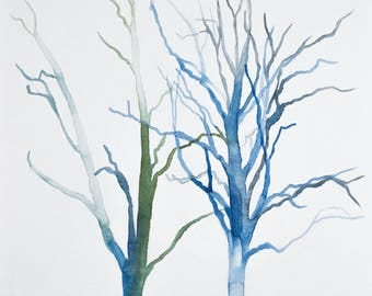 tree study no. 5 . original watercolor painting