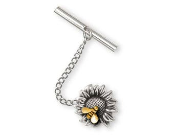 Sunflower Tie Tack Jewelry Silver And Gold Handmade Flower Tie Tack SF6-TNTT