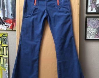Vintage 70's ELY Bell Bottoms Flare Leg High Waisted Jeans 33x32 Talon 42 Zipper Hippie Bohemian