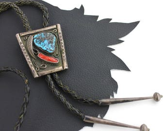 Turquoise Coral and Silver Western Bolo Tie on Black Leather Cord