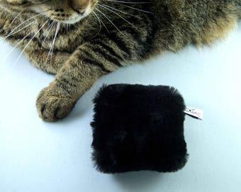 Catnip Cat Toy Pillow, Kitty Kicker Pillow, Natural Cat Toy, Cat Kicker Toy, Rattle Cat Toy, Black Sheepskin, Optional Rattle, Organic Herbs