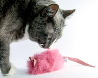 Valentine Cat Toy Big Mouse, Pink Valentine Cat Toy Mouse, Real Rabbit Fur Cat Toy, Organic Catnip or Silvervine Mix Options