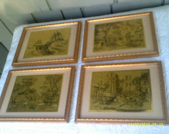 Four Vintage Lionel Barrymore Gold Foil Etching Prints in Frames, Boating Pictures, Fishing Prints, Lionel Barrymore