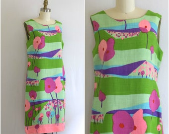 60s Pop Print Shift Dress/ 1960s Mod Day Dress/ Retro Linen Sleeveless Dress/Womens Size Medium
