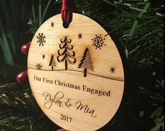 Christmas Ornaments Handmade, Christmas Ornaments Personalized, Engagement Gifts for Couple, Wood Christmas Ornaments // SKU#169