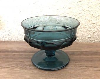 Vintage Blue Kings Crown Sherbert Dessert Cup