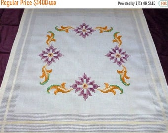25% SUMMER SALE Vintage square tablecloth with floral  embroidery hand embroidered table cloth handmade cross stitch