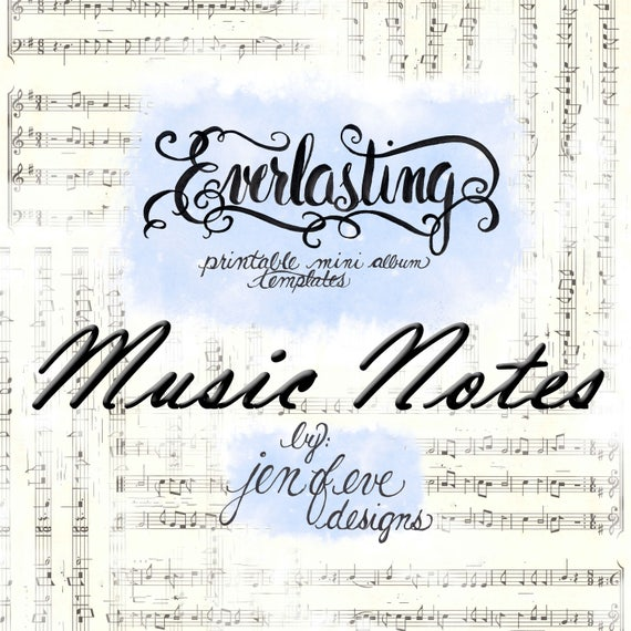 Everlasting Printable Mini album Template in Music Notes and PLAIN