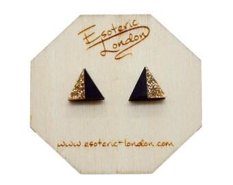 Geometric Stud Earrings/ Acrylic Jewellery/ Glittery Studs/ Geo Studs/ Classic Earrings/ Black and Gold Studs/ Triangle Studs