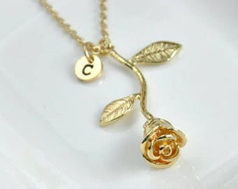 Silver or Gold Rose Necklace with Initial, 18 inch, Bridesmaid Gift, jewelry, teen girl, beauty and the beast, mom, gift for her, mothers