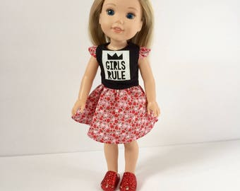 14 inch doll dress. Made to fit Wellie Wisher sized dolls. Girls rule dress in black and red/pink flower skirt. S.O. Designs. Birthday gift