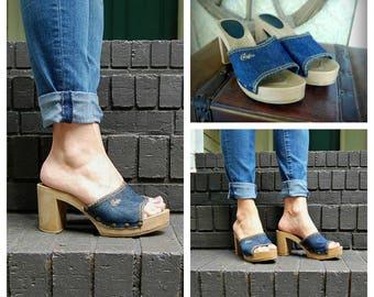 Vintage 80s shoes, Size 8 Candies Chunky High Heel Denim Slides, Denim Open Toe Mules / Clogs