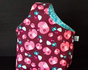 Bag reversible snack, apples and Chevron patterns