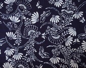 Floral Butterfly Vintage Japanese indigo cotton yukata fabric. Vintage kimono fabric