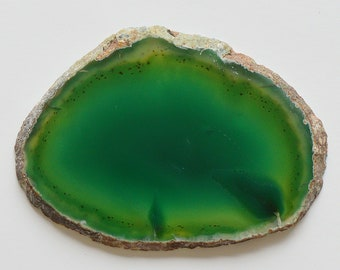 1 Large Dyed Green Color Agate Crystal Quartz Natural Geode Mineral Rock Stone Slice Slab