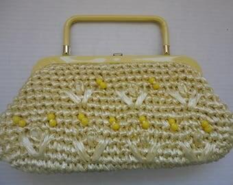 Yellow Raffia Handbag
