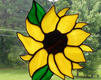 Stained Glass Sunflower Suncatcher (#3) - Handcrafted in Tennessee
