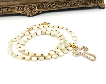 Free Shipping,Mother of Pearl Beaded Necklace,white mother of pearl necklace,ivory mother of pearls,cross necklace,ladies necklaces,crosses