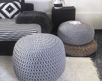 Grey Large Crochet Pouf Ottoman