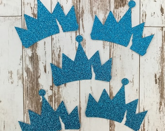 18 pcs Descendants 2 Movie - Glitter Die Cut/Party Decorations/Embellishment/Table Scatter/Gift Tags/Cupcake Topper - Large Blue Evie Crown