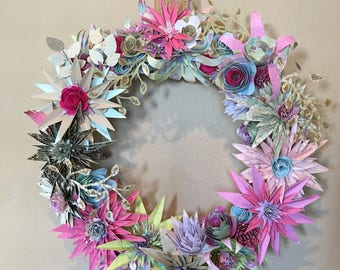16 inch Pink and Earth Toned Paper Spike Flower Wreath