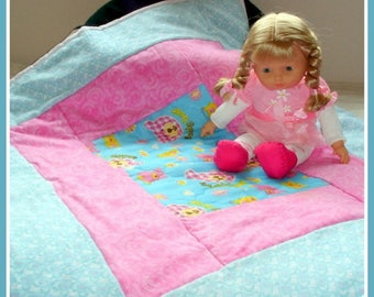 Hand made baby quilt, girls quilt, warm and cuddly quilt, reversible quilt one of a kind,original design by kids knits,FREE SHIPPING.