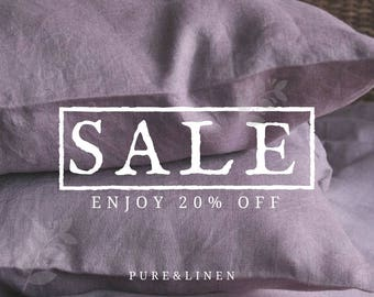 20 off Linen Pillow Case/ Linen Pillow Cover/Lavender Shams/Natural Linen/Softened Linen