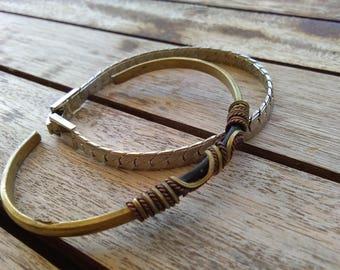 Lot 2pcs French vintage brass silver metal bracelet vintage bangle bracelets  bronze bracelet
