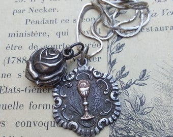 French antique 19th century sterling silver medal 18k yellow gold vermeil Eucharistic Cup reliquary rose St Theresa silver snake chain
