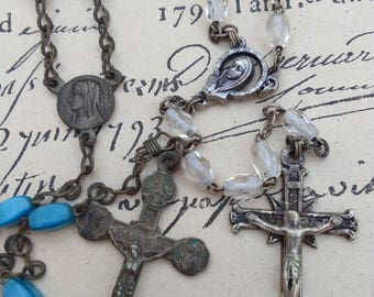 Lot 2 French antique rosetree glass crstal  beads bronze religious medal cross crucifix ornate cross sacred heart crystal blue beads