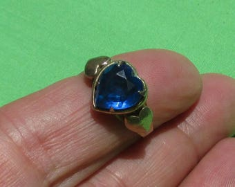 Vintage  Cleinman & Sons Triple Heart Sapphire Colored Rhinestone Adjustable Ring