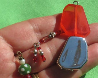 Lot Of Red Colored Salvaged Beaded Pendants Dangles