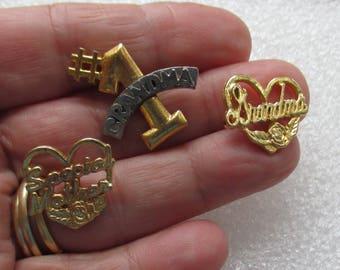 Lot Of Retro Heart Grandma Mother #1 Lapel Pins