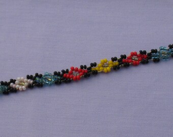 Retro Colorful Seed Bead Snap Closure Bracelet Small Size