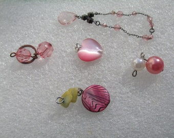 Lot Of Salvaged  Pink Beaded Dangles Pendants