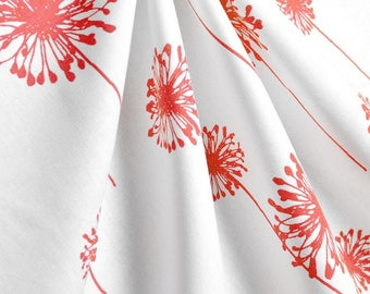 White & Coral Curtains/Modern Curtains/Floral Curtains/White Curtains/Window Curtains/Window Treatments/Window Curtain Panels
