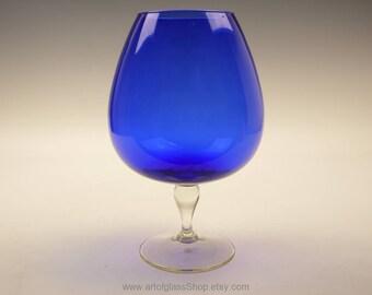 Cobalt blue glass brandy balloon/vase